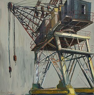 Lever Crane Dublin Docklands, Ireland, oil on canvas by Irish artist Gerard Byrne, 2013