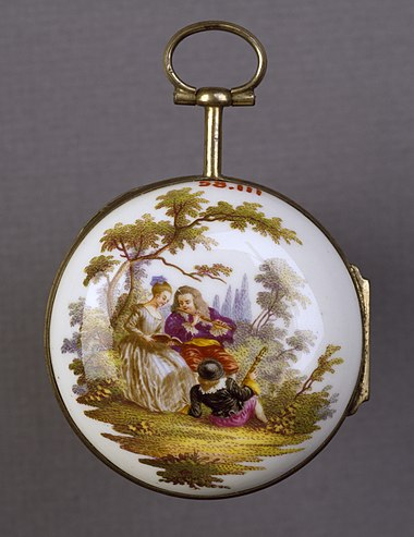 Meissen watchcase, c. 1765, with a man playing a flute, a girl singing and a second man reclining. German - Watch with a Scene of Musicians - Walters 58111.jpg