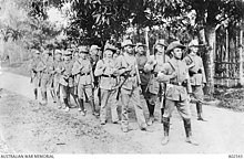 Soldiers marching through the jungle