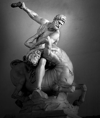 Nessus (mythology) - Heracles and Nessus by Giambologna, (1599), Florence.