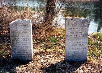 Peabody, Massachusetts - Memorial to Giles Corey and his wife Martha at Crystal Lake in Peabody. Both are notable victims of the Salem witch trials.