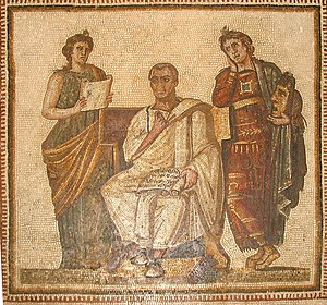 Mosaic of a person sitting between two muses
