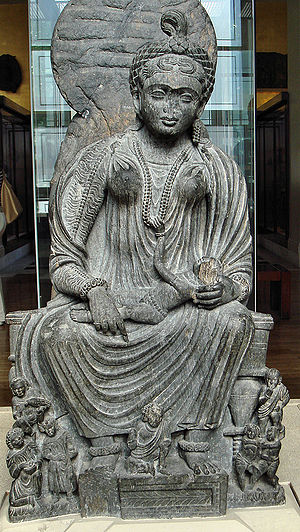 Hariti - Hārītī as a mother goddess with infant. Gandhara, 2nd-3rd century, now in the British Museum.