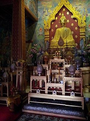 Kushinagar - Golden Statue of Buddha in Wat Thai Kushinara Temple.