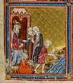 Golden Haggadah Pharaoh and the Midwives.jpg