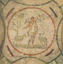 El buen pastor, un tema habitual del arte peleocristiano. Representación en la catacumba de Priscila, Roma.