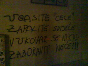 "Turbo-folk - Graffiti against Ceca turbofolk music in Imotski, Croatia: ""Turn off all the 'Cecas'/Light up the candles/Vukovar will never/Be forgotten"" (with every U character stylised same as in the Croatian Ustaše fascist movement)"