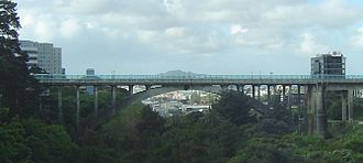 Grafton Bridge - Image: Grafton Bridge Panorama Auckland