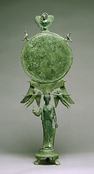 Greek - Caryatid Mirror with Aphrodite - Walters 54769.jpg