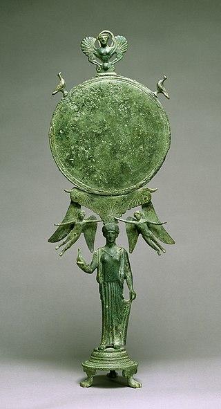 Greek - Caryatid Mirror with Aphrodite - Walters 54769.jpg