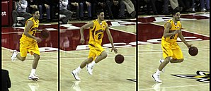 Greivis Vásquez - Greivis Vásquez brings the ball upcourt during the Terps' 88-85 victory over North Carolina on February 21, 2009.  Vasquez had 35 points, 11 rebounds and 10 assists in the game.
