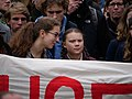 Greta Thunberg at the front banner of the FridaysForFuture demonstration Berlin 29-03-2019 11.jpg