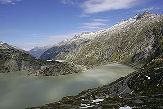 Grimselsee artificial lake near Grimsel pass in the Canton of Berne, Switzerland