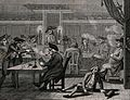 Groups of men sitting at tables smoking and having a merry t Wellcome V0040114.jpg
