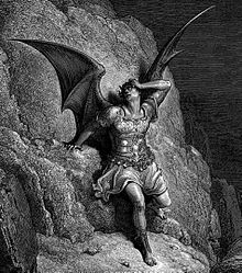 Etching of Satan, a distraught man with dragon wings and horns, leaning against a rock