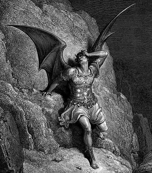 Gustave Doré, Depiction of Satan, the central figure in John Milton's Paradise Lost c.1866 - Satan