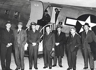 Oppenheimer security hearing - The General Advisory Committee (GAC) of the Atomic Energy Commission (AEC) in 1947; left to right: James B. Conant, J. Robert Oppenheimer, Brigadier General James McCormack, Hartley Rowe, John H. Manley, Isidor Isaac Rabi and Roger S. Warner