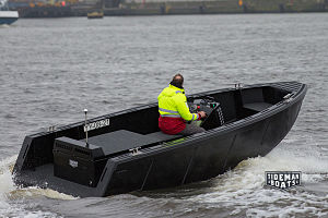 Rigid buoyant boat - RBB made form HDPE sheets with diesel waterjet propulsion