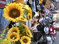 HK Wan Chai evening Cross Street outdoor Wan Chai Market Daisy flowers hats April-2011.JPG