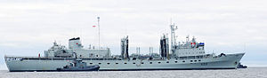 Protecteur-class replenishment oiler - Image: HMCS Protecteur with tug