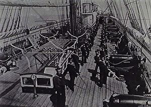 RML 64 pounder 71 cwt gun - Broadside guns seen here on British screw corvette HMS Sapphire circa. 1878