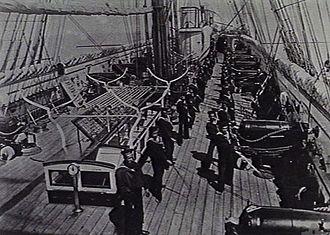 RML 64 pounder 71 cwt gun - Broadside guns seen here on British screw corvette HMS Sapphire circa. 1878