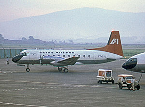 Indian Airlines - HS 748 built in India, operated by Indian Airlines, at Bombay Airport in 1974