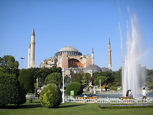 State church of the Roman Empire - The Hagia Sophia basilica in Constantinople, for centuries the largest church building in the world.