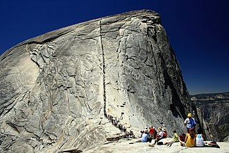 Exfoliation joint - Exfoliation joints wrapping around Half Dome in Yosemite National Park, California.