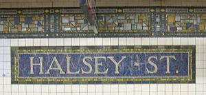 Halsey Street (BMT Canarsie Line) - Southbound platform mosaic