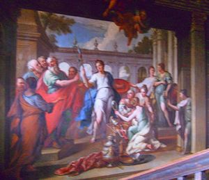 Hanbury Hall - Odysseus finds Achilles among the daughters of Lycomedes. This mural painting by Thornhill commands the main staircase.