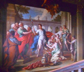 Achilles on Skyros - Odysseus finds Achilles among the daughters of Lycomedes. This mural painting by James Thornhill commands the main staircase at Hanbury Hall, Worcestershire.