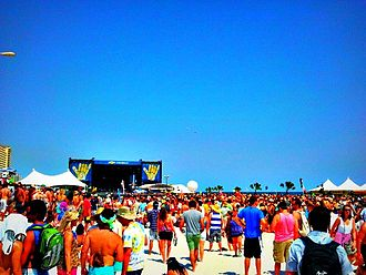 Hangout Music Festival - Large crowd around the Chevrolet Stage during Hangout Music Fest 2012.