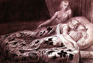 "Tiriel (poem) - Har and Heva sleeping while Mnetha looks on (British Museum); the illustrated text is: ""And in the night like infants slept delighted with infant dreams"" (2:9)."