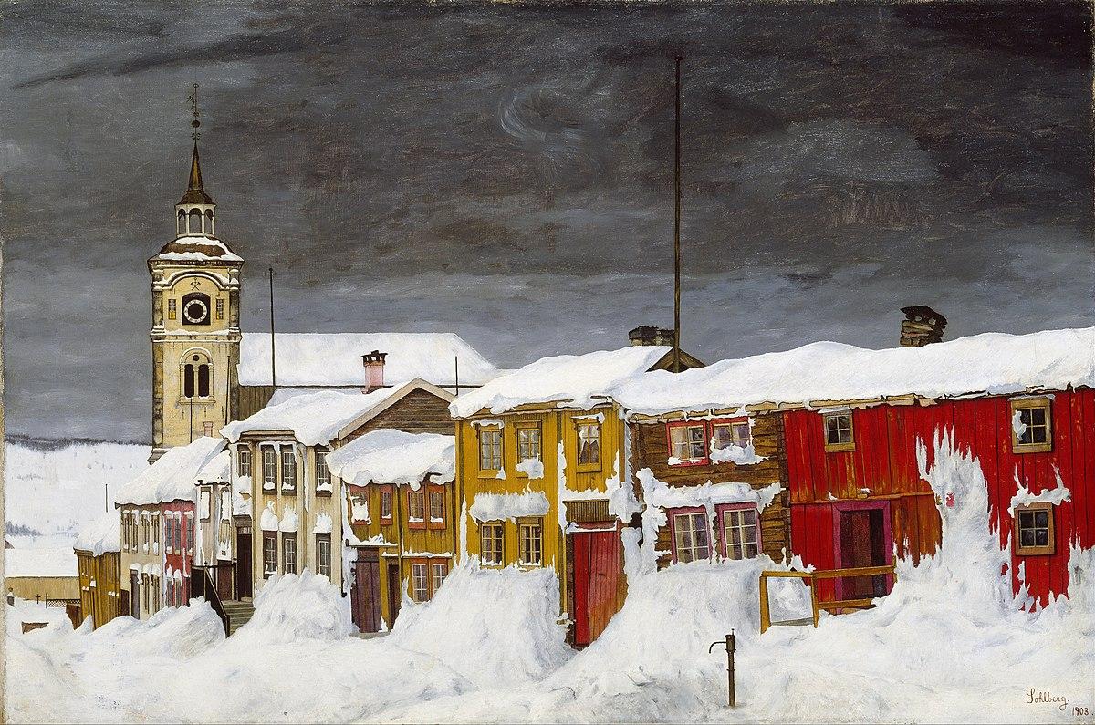 Harald Sohlberg: Street in Røros in Winter