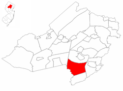Map highlighting Harding Township's location within Morris County. Inset: Morris County's location within New Jersey.
