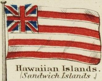 Flag of Hawaii - Image: Hawaiian Islands. Johnson's new chart of national emblems, 1868