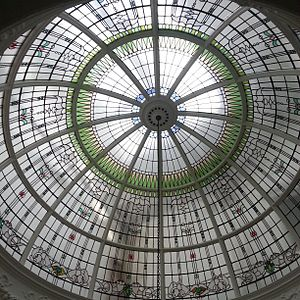 Hawksley House - The glass dome above the main staircase in Hawksley House