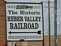 Heber Valley Railroad sign on SR-113 in Heber City, Utah, Apr 16.jpg