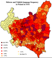 Hebrew and Yiddish language frequency in Poland in 1931 1.PNG