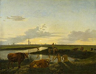 Canal Landscape with Figures Bathing