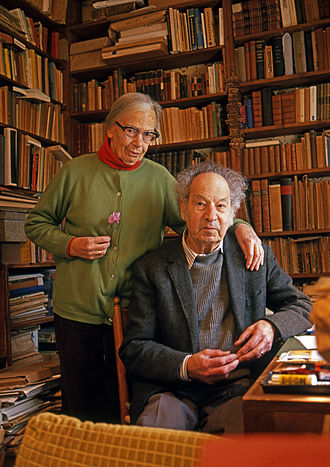 Henri Friedlaender - Henri Friedlaender and his wife Maria, in his study in Motza Illit, Israel (1989)