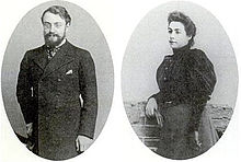 Two greyscale photos where each photo is in the shape of an oval: Henri Matisse (left) and Amélie Matisse (right)