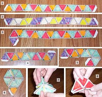 Flexagon - Image: Hexaflexagon construction and use