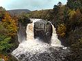 High Force waterfall showing twin falls. Teesdale, England.jpg