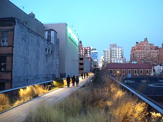 Elevated park - The High Line in New York City is built on a disused elevated railway.