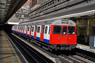 London Underground C69 and C77 Stock - A refurbished C Stock at High Street Kensington