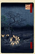 Hiroshige, New Year's Eve foxfires at the changing tree, Oji, 1857.jpg