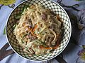 Homemade Japchae with mixed capsicum, mushroom, meat, carrot with rice noodles 05.jpg