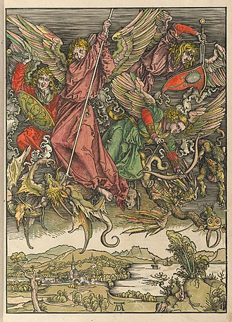 Saint Michael Fighting the Dragon - Impression with hand-colouring